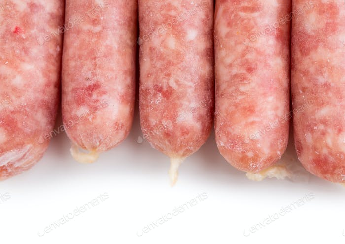 Delicious raw sausages for barbecue.