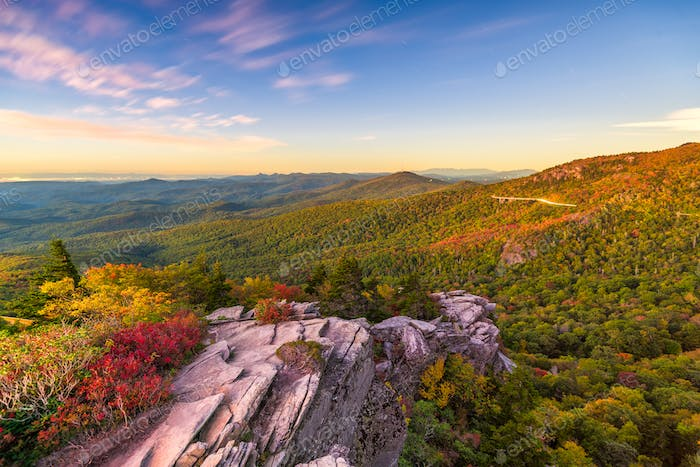 Blue Ridge Mountains landscape at Linn Cove Viaduct and Grandfat