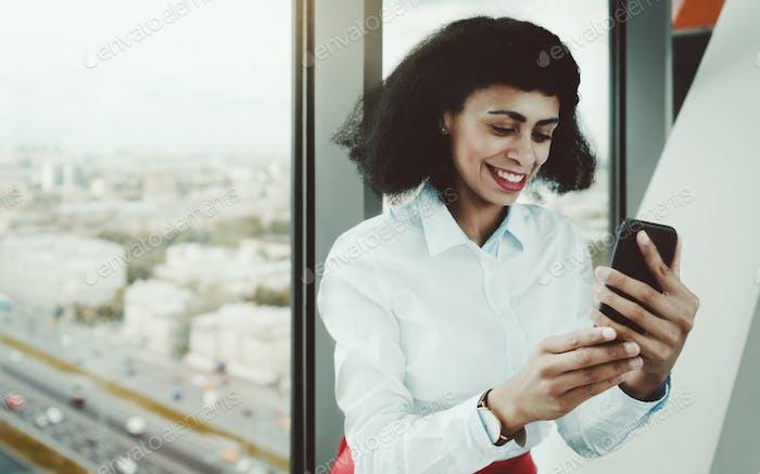 A businesswoman having a videocall