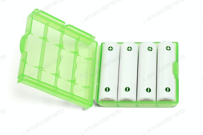 Rechargeable Batteries in Green Plastic Case