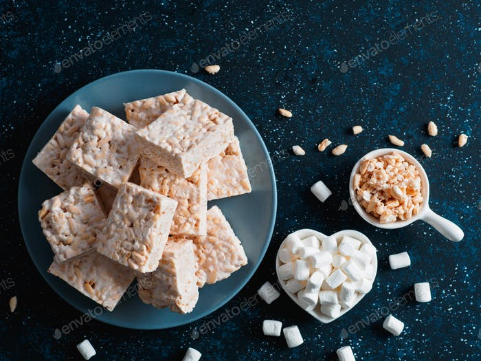 Homemade bars of Marshmallow and crispy rice