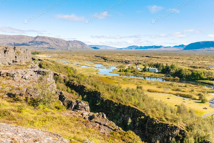 view of rift valley with fault in Thingvellir park