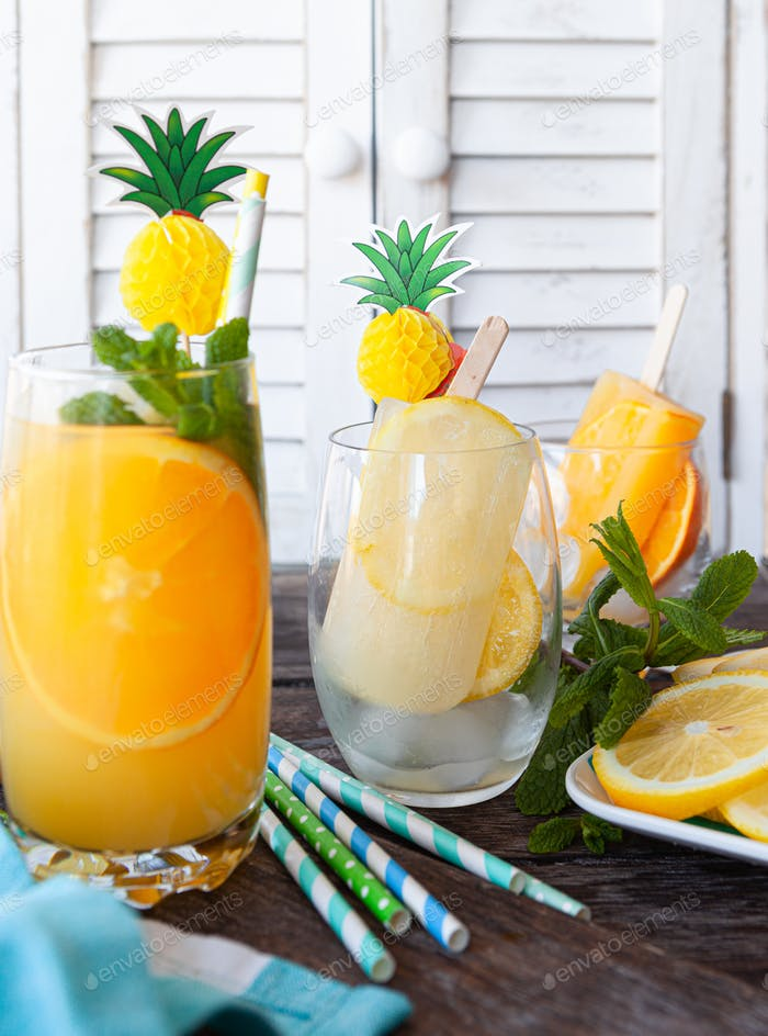 Fruity cocktail with fresh orange