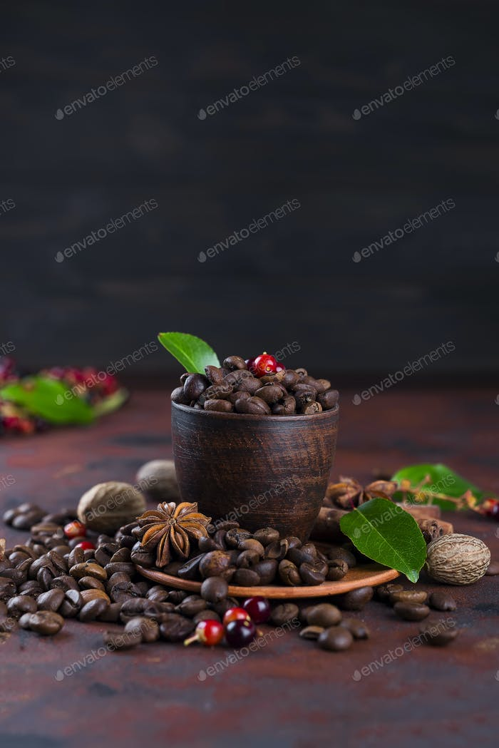 Coffee bean on black stone background