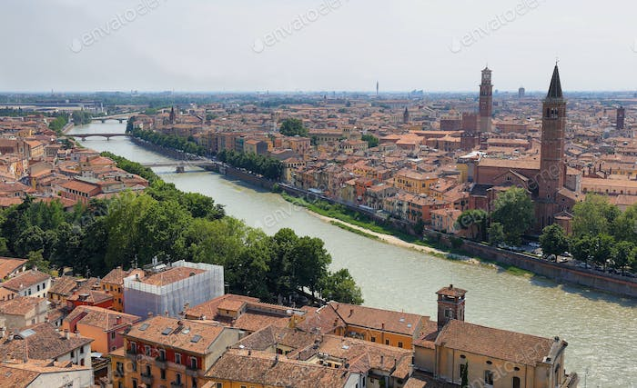 Panoramic view of Verona, city and Adige river Italy