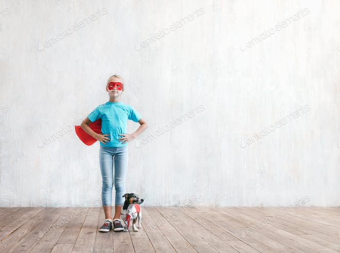 Super girl with a dog