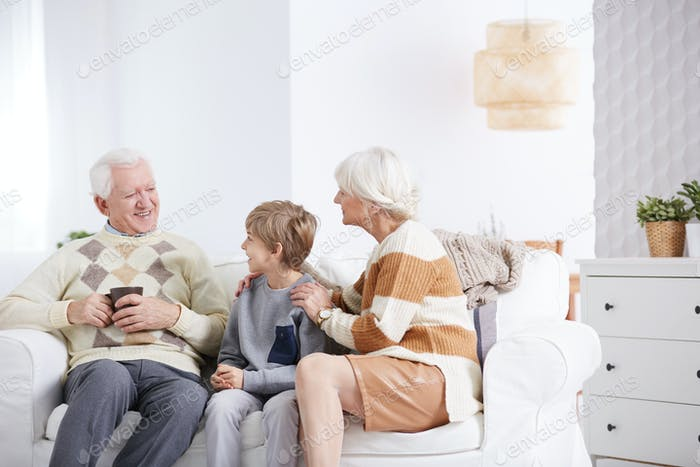 Boy spending time with grandparents