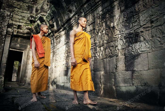 Contemplating Monk in Cambodia.