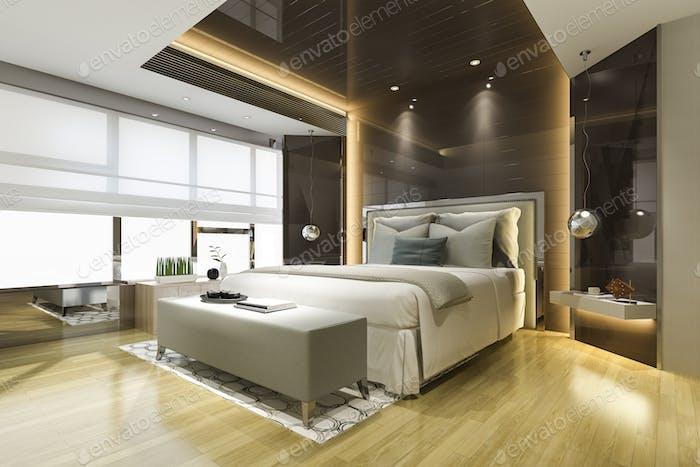 3d rendering beautiful luxury bedroom suite in hotel with tv and black mirror