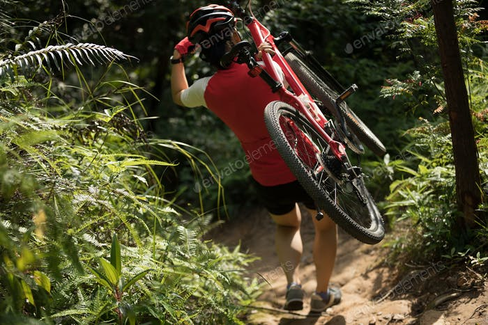 Cyclist carrying a mountain bike in the forest