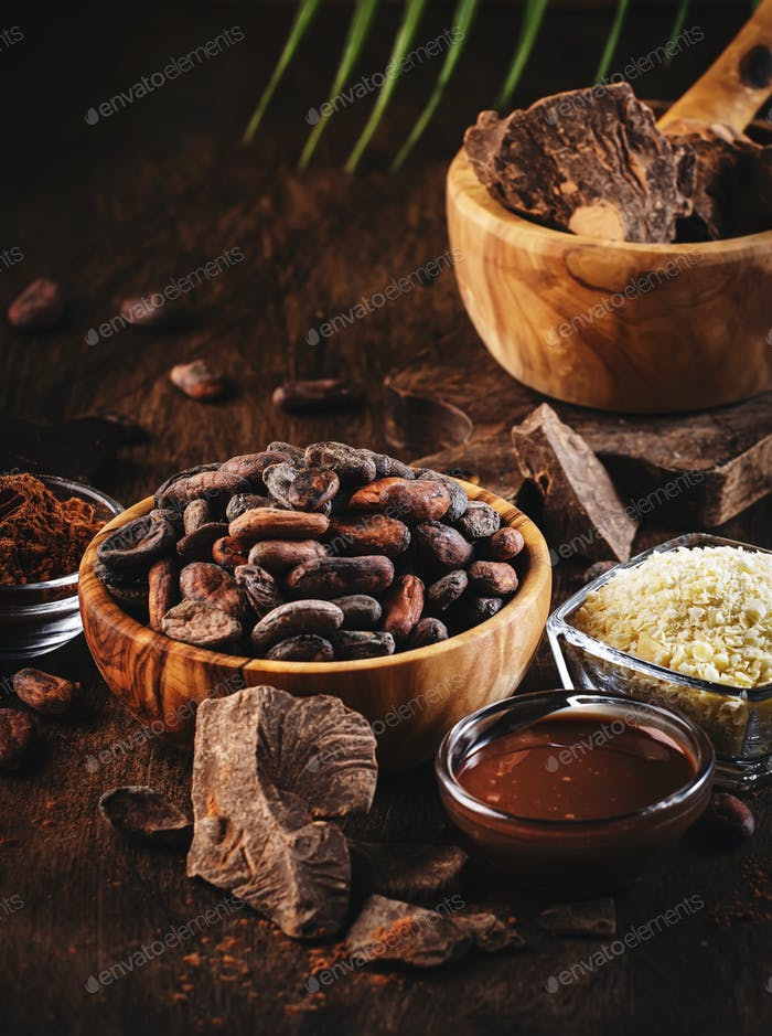 Various organic cocoa products
