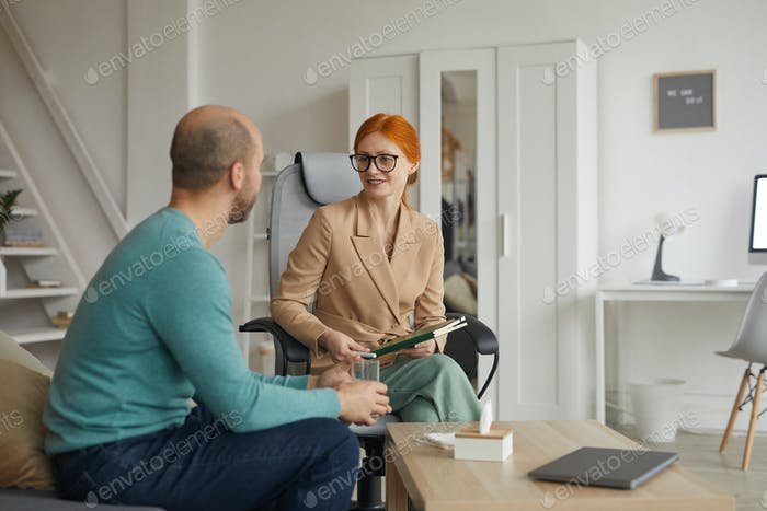 Psychologist interviewing the man
