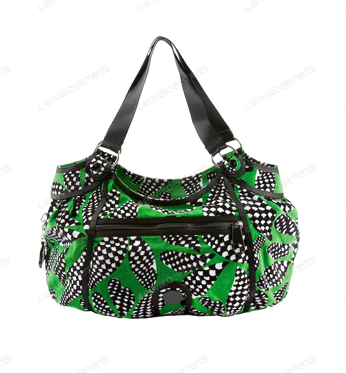 Green and op art zipped tote