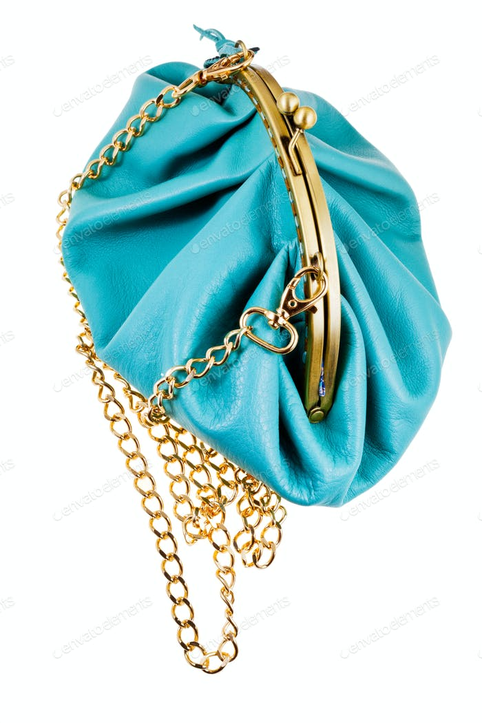 blue leather retro style theater bag