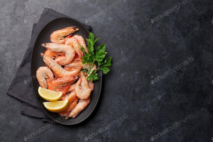 Steamed tiger shrimps