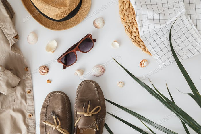 Male hipster fashion accessories on white. Flat lay, vacation and travel items