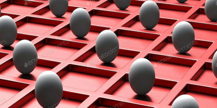 Easter eggs in distance on red background. 3d illustration