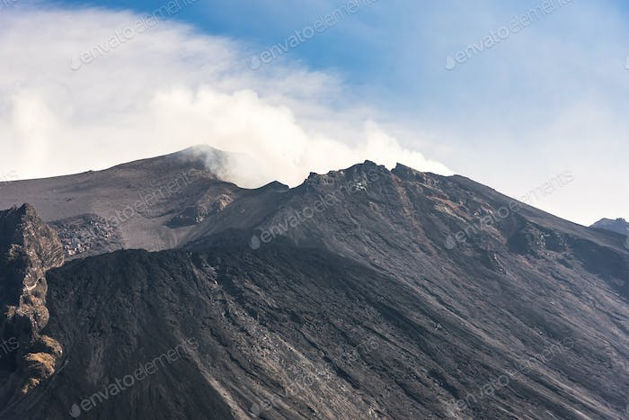 Close up of the volcano Stromboli crater