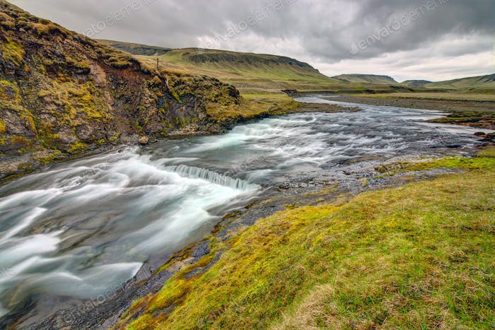 The wild Fjadra river in Iceland