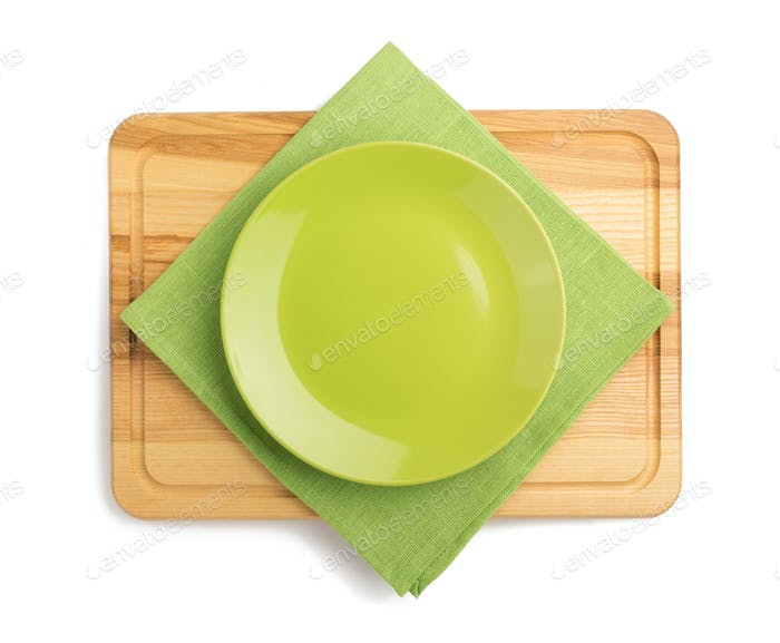 cutting board and plate
