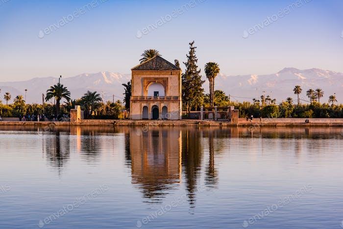 Saadian pavilion,Menara gardens and Atlas in Marrakech, Morocco,
