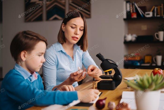 Zuhause lernen, Frau und Junge lernen am Tisch