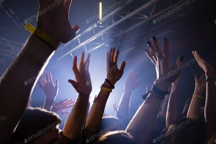 Gruppe von Menschen, die bei einem Konzert tanzen