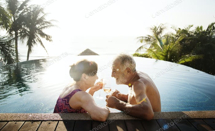 A honeymoon couple enjoying summertime