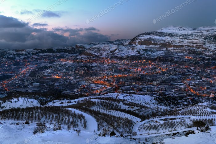 Mountainous Town in Winter