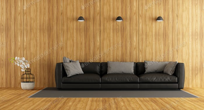 Wooden room with sofa