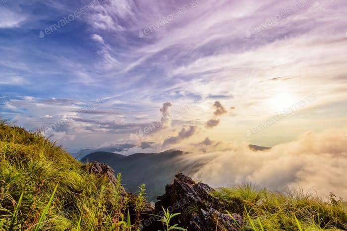 Phu Chi Fa Forest Park at sunset, Thailand