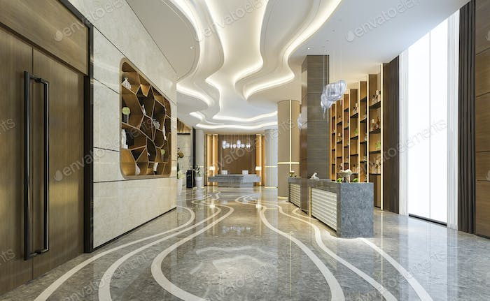 luxury hotel reception hall and office with decor shelf