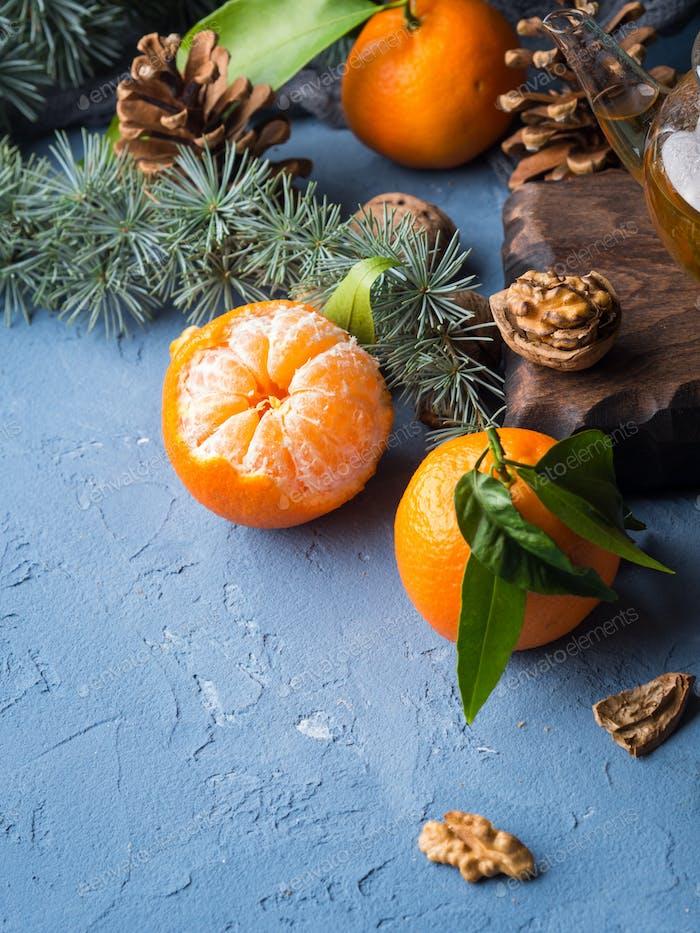 Tangerines winter still life
