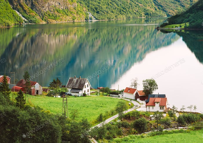 View Of Scandinavian Houses In Norwegian Village On Shore Of The