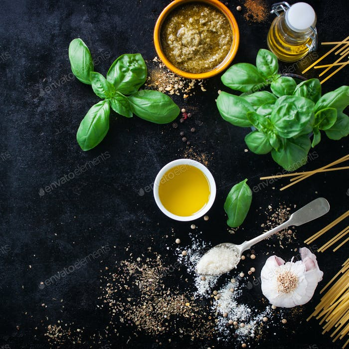 Food background with ingredients for pesto