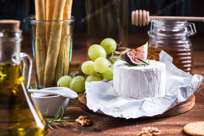 Piece of Blue Cheese with fig