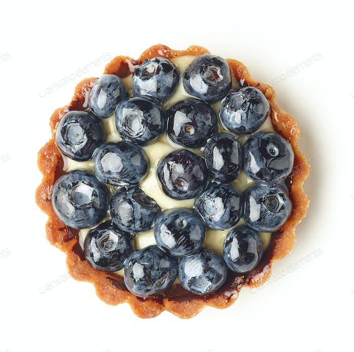 blueberry tart isolated on white background