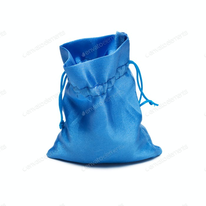 Opened Blue Christmas Bag With Present Isolated Over White