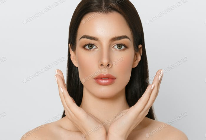 Fresh skin care woman, beauty concept healthy face makeup, female model portrait.