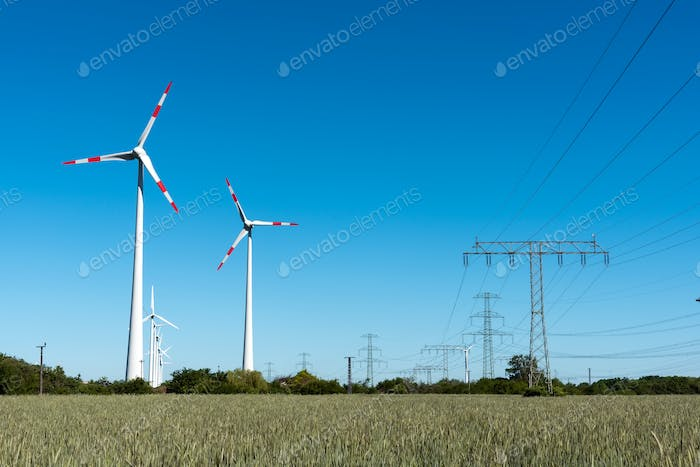 Windwheels and power transmission lines in Germany