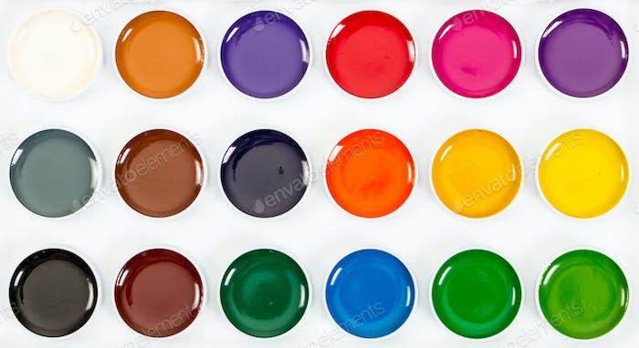 New children's honey watercolor paints. Top view.