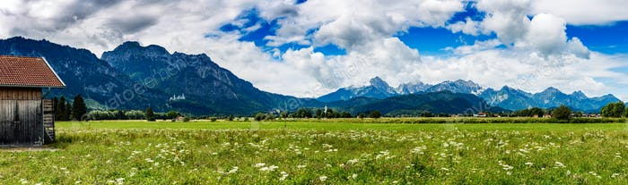 Beautiful natural landscape of the Alps. Forggensee and Schwanga