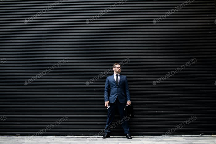 Business man with smartphone and briefcase