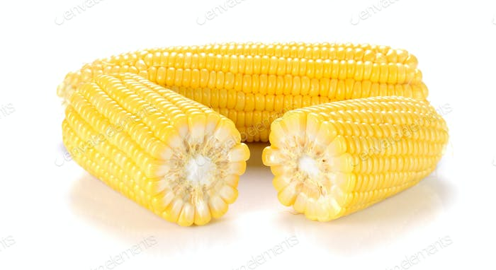 Yellow Corn on white background.