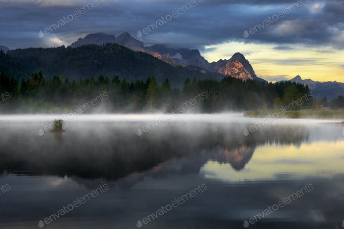Beautiful Geroldsee lake during foggy morning