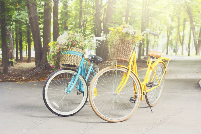 Yellow and turqoise city woman bicycles with flowers in park