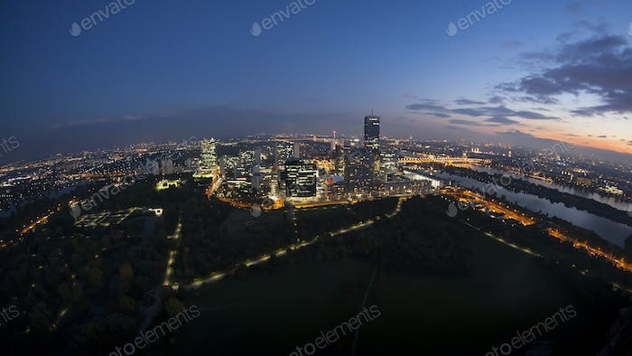 Vienna from above by night
