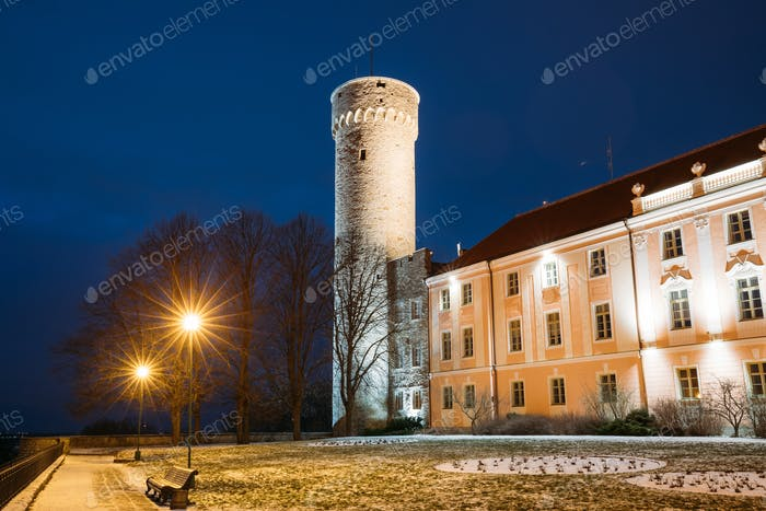 Tallinn, Estonia. Evening Night View Of Upper Town Castle Corner