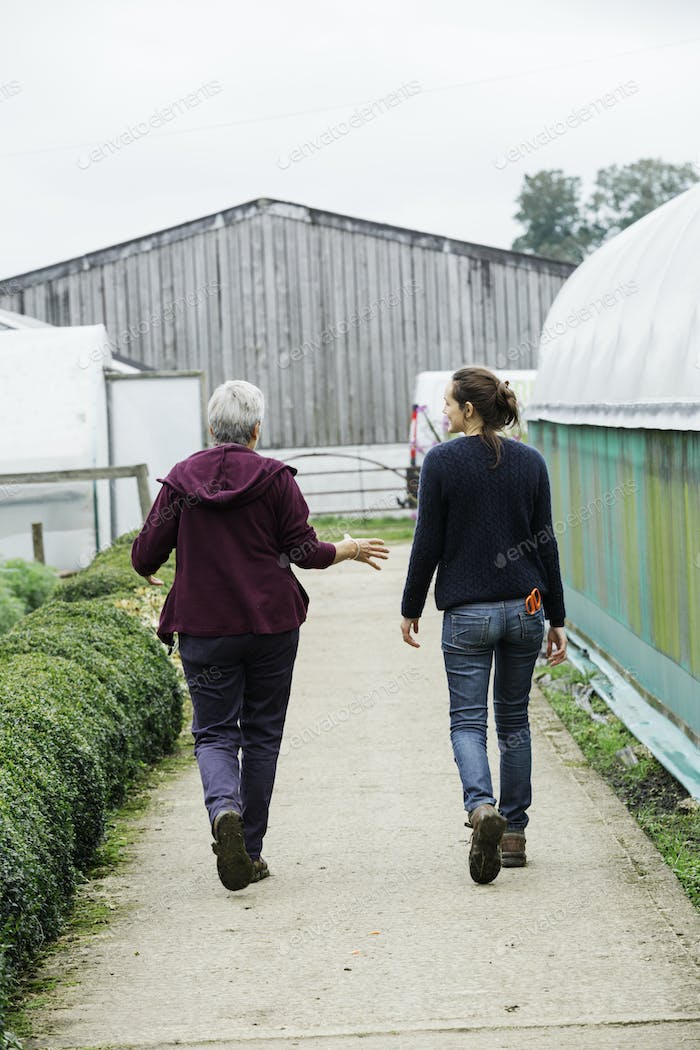 Two people walking down the path in an organic plant nursery.