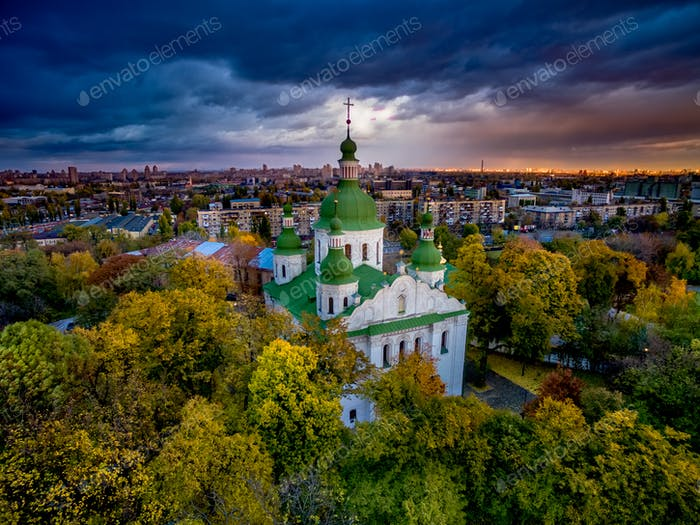 Kirilovska church in autumn trees